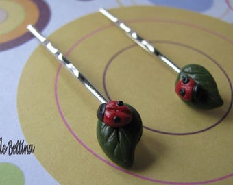 Leaves and ladybirds polymer clay Bobby pins