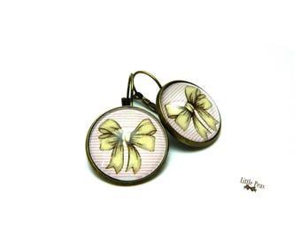 Bow Ribbon cabochon Stud Earrings
