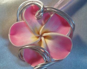 Silvered Metal pink plumeria Flower necklace