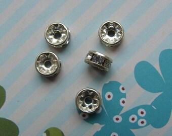 Set of 5 Intercalaires Swarovski 5mm white diamond