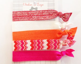 Twistband or hair ties: variegated red, orange and white x 5
