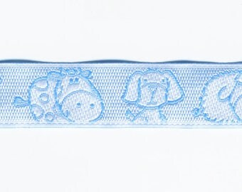 Woven Ribbon braid fancy Blue Dog, cow and sheep by the yard