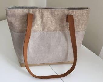 D was Golden beige and spangled handbag shoulder bag