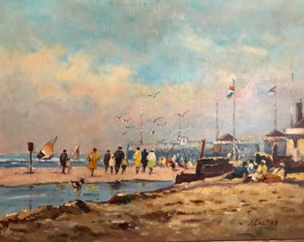 The Beach at Cannes by J. Collier Oil Painting
