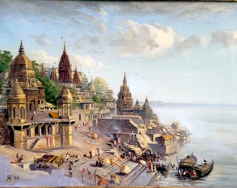 19th C. View of VARANASI India, on the GANGES River, ANTIQUE Oil on Canvas, 1898, By British Artist, Alexander Scott