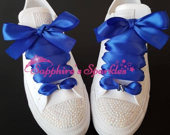 Customised Royal Blue Wedding Shoes Bling Crystal Sparkly Initial Mono Converse