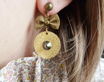 Earrings gold and Bronze (drilled) bow