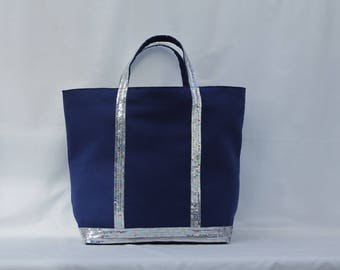 Tote bag in Royal Blue cotton with silver sequins
