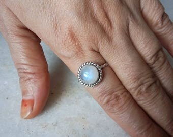 Moonstone Silver Ring, 925 Sterling Silver Ring, Size 4-13