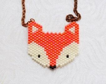 Orange and white Fox necklace woven with Miyuki beads