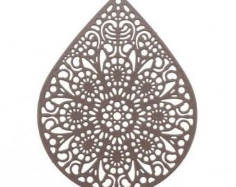 Pretty print pendant shape: Teardrop filigree - Brown dark 3.9 x 4.9 cm
