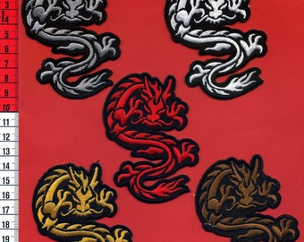 Set of dragons embroidered patches iron or sew 6.5 x 9cm. Patch applique