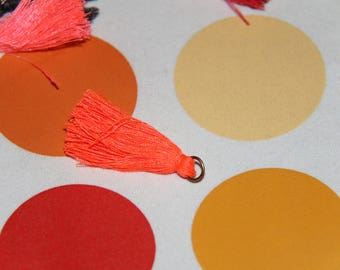 Bronze 2 PomPoms neon orange tassels with ring