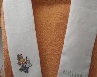 communicant white linen scarf
