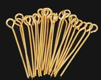 set of 12 Golden pins 38mm