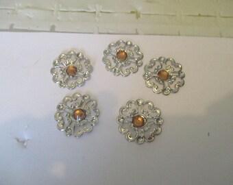 set of 3 Silver rhinestone flowers