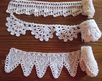 Vintage crochet lace trim Bulgarian lace Handmade lace  Hand knitted by my mother in 1965