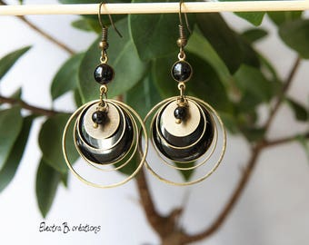 Black sequin, pearl earrings, timeless and Bohemian agate and brass bronze