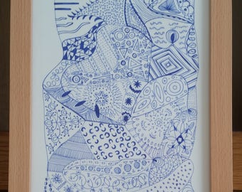 Blue owl - Signed Limited Edition Fine Art A4 Giclee Print on Bamboo Paper