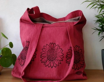 Canvas bag, linen bag, lino prints, tote bag, shopping bag, book bag