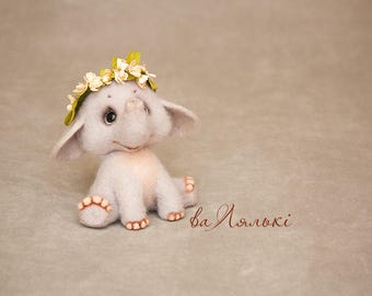 Handmade needle felting toy Elephant .