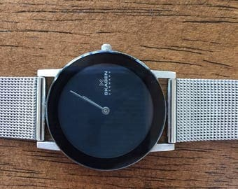 Vintage Skagen denmark ladies 39lssb ultra slim stainless black dial japan quartz watch