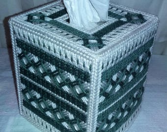Handcrafted Kleenex Box Cover - Green Argyle (Kleenex Included)