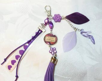 Keychain or bag SUPER colleague - purple - B42 - customizable