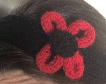 Black Spool Knitted Headband with Red Flower Embellishment