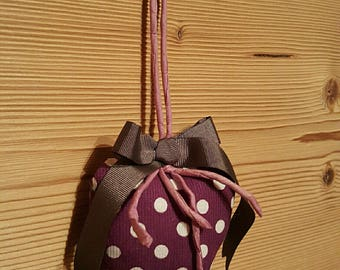 Purple heart shaped hanging decoration