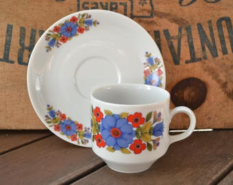 Mitterteich Bavaria Teacup and Saucer, Blue and Red Floral Pattern, Midcentury