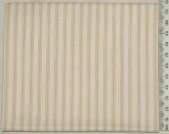 Embroidery - stripe - Makower beige on ivory background.