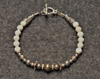 Classic White Turquoise Personal Power Bracelet - White Turquoise and Pyrite