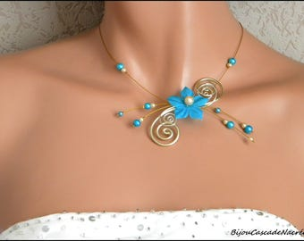 Flower turquoise Suzie gold foil wedding Pearl bridal necklace