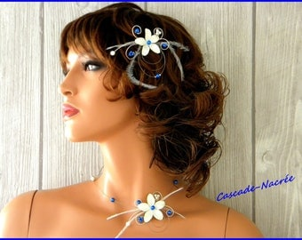 Ines blue feather bridal fascinator ivory Crystal King silver Pearl wedding