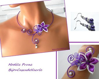 adornment jewelry plum purple plum white bridal silk aluminium Butterfly Pearl wedding flowers