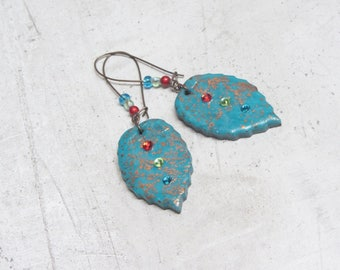 Unique blue leaf earrings handmade by Little Valentine