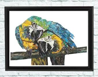 Blue Parrots print