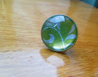 Green shape ring adjustable round