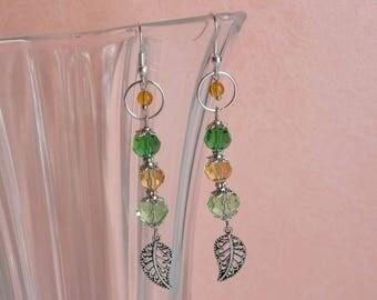 Miriel silver, green & yellow crystal earrings ❤