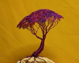 Wire tree sculpture, acacia wire, tree in Geode Quartz