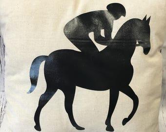 Kentucky Horse and Jockey Pillow