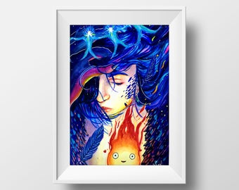 Howl's Moving Castle Watercolor Print