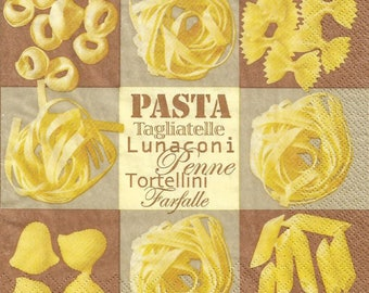 "Set of 3 paper napkins / 33 x 33 cm / ""Italy, pasta"" tagliatelle, penne, farfalle."