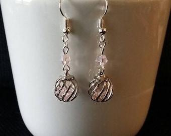 """Pink Cage"" earrings 3.5 cm"