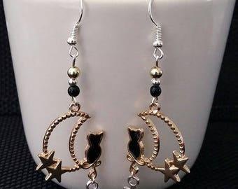 """""""Cat moon"""" earrings 6.5 cm"""