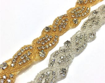 "1 1/2""  Crystal Beaded Rhinestone Trim Gold-Silver #QRGY6083"