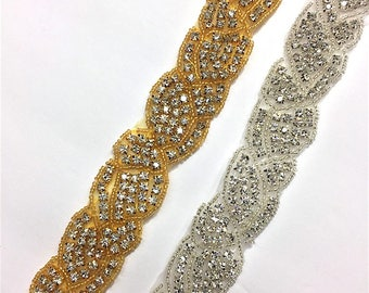 "1""  Crystal Beaded rhinestone trim Gold-Silver #QRGY6034"