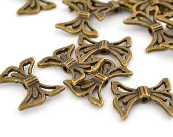 5 beads graphic Butterfly bronze metal 20x17mm