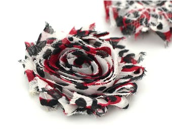 Red and white, black polka dots fabric flower 6cm, sew or glue